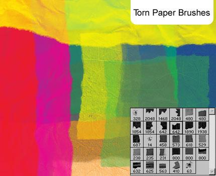 Torn Paper brushes by melemel photoshop resource collected by psd-dude.com from deviantart