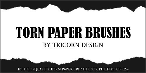 Torn Paper Brushes by TriCornDesign photoshop resource collected by psd-dude.com from deviantart