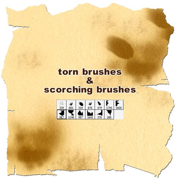 tornscorching brushes by gimei photoshop resource collected by psd-dude.com from deviantart