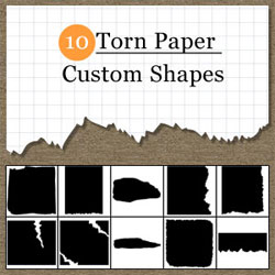 Torn Paper Photoshop Shapes psd-dude.com Resources