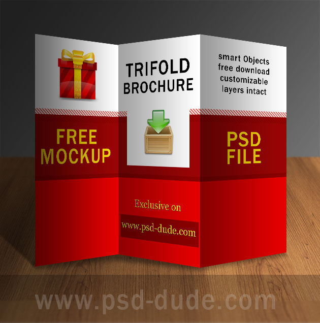 Tri fold brochure psd free template psddude for Pamphlet photoshop template