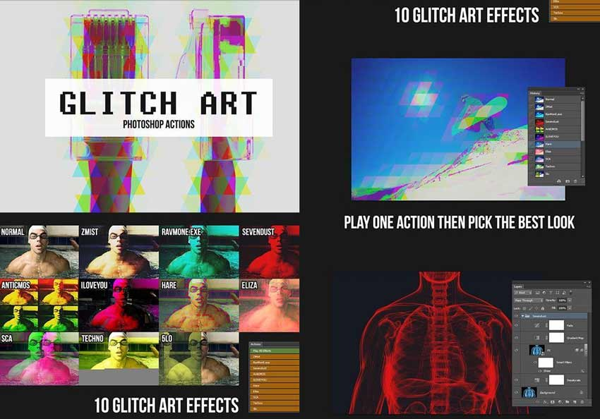 10 Glitch Art Effects Photoshop Actions