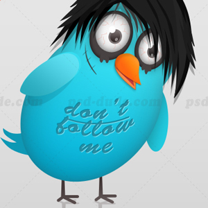 Twitter Logo With Emo Twitter Bird psd-dude.com Resources
