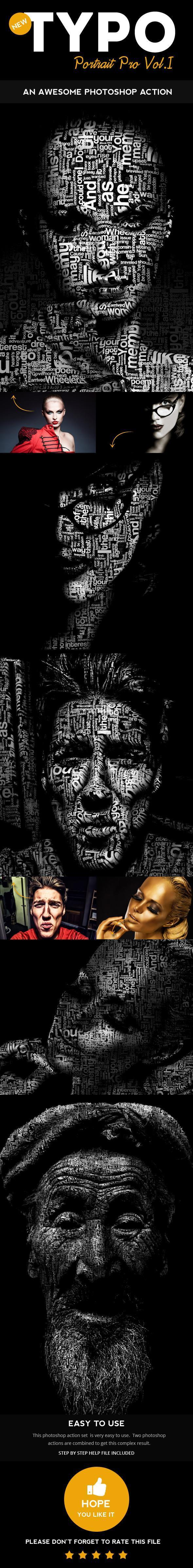 Typographic Portrait Photoshop Action Generator