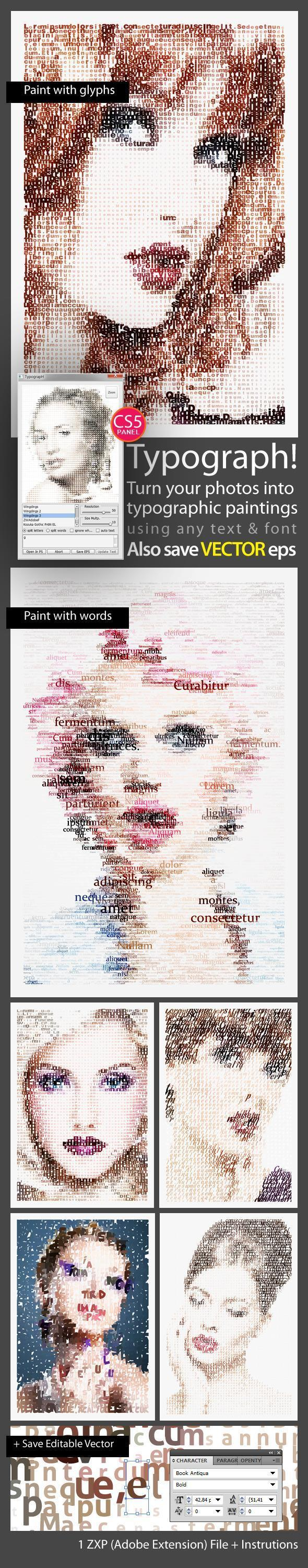 Typography Portrait Photoshop Extension