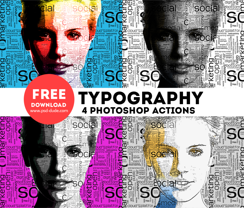 Typography portrait photoshop free actions psddude Typography portrait