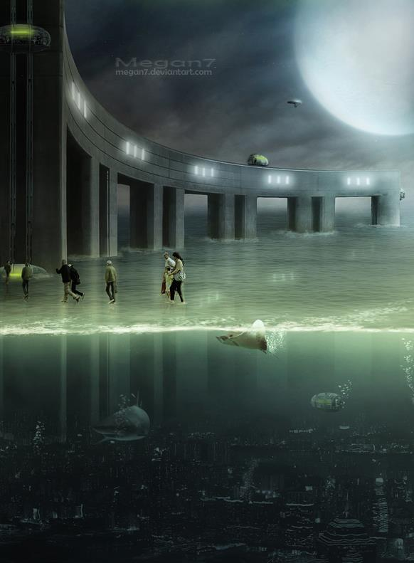 Year 3012 Sci Fi Underwater City in Photoshop