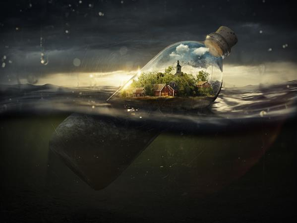Floating Sea Bottle Micro World in Photoshop