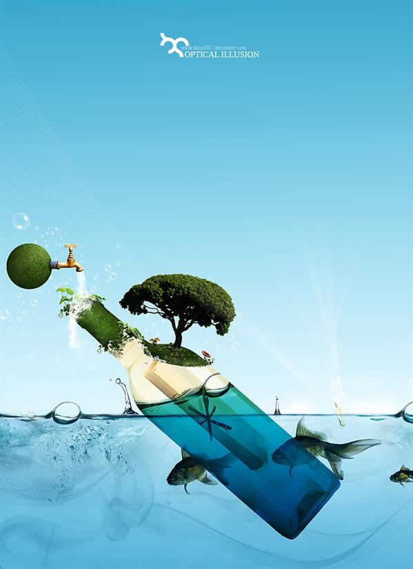 Optical Illusion Floating Bottle Island Photoshop Manipulation