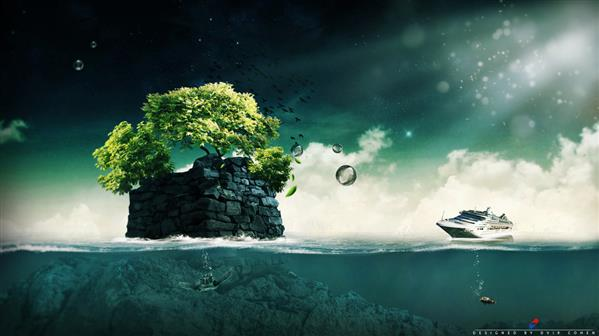 Underwater Landscape Photo Manipulation