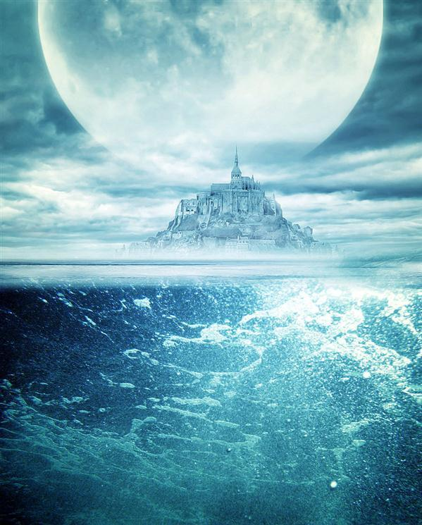 Underwater and Island Castle Premade Background