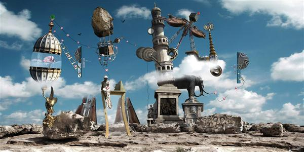 Surreal Statue Construction Photo Manipulation