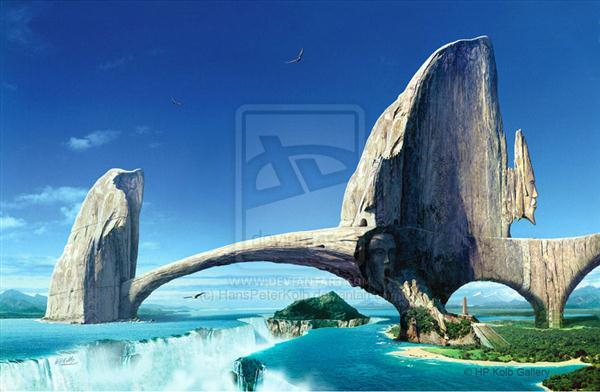 The Bridge Stone Structure Surreal Photo Manipulation