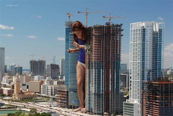 Giant Woman in the City Photo Manipulation