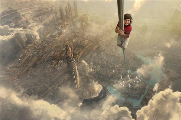 Reaching the City Sky Photo Manipulation