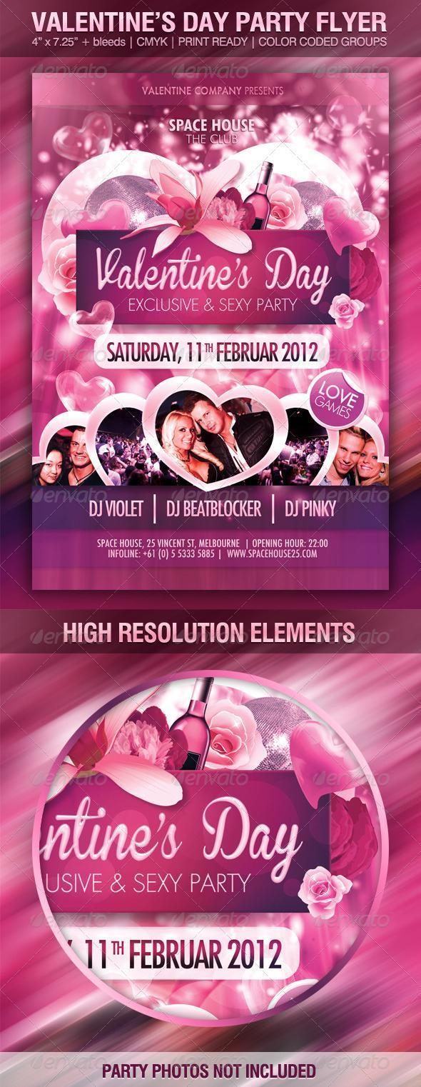 Pink Roses Party Flyer Template for Valentines Day