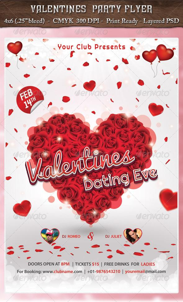 Red Rose Heart Party Flyer