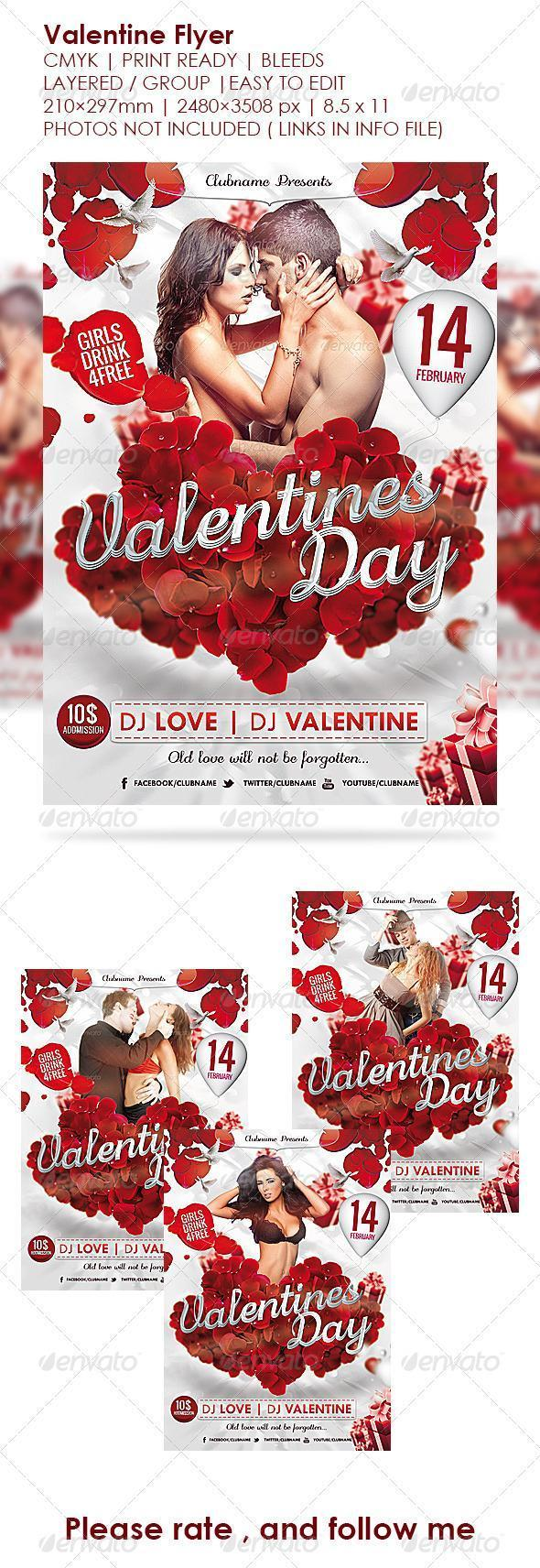 Rose Petals Valentine Day Template
