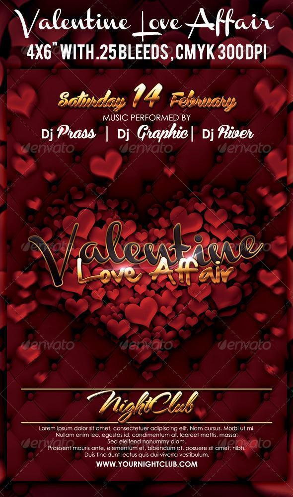Valentine Love Affair Template for Party Flyers