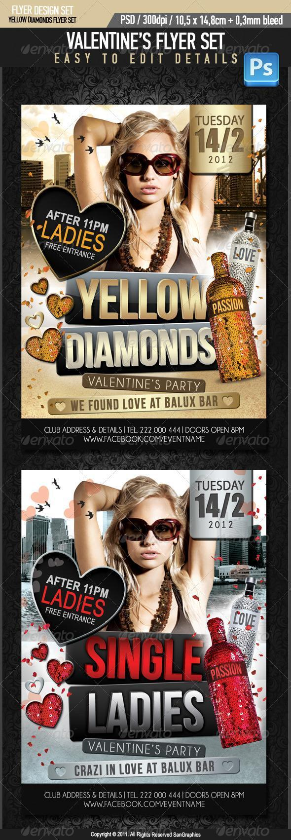 Yellow Diamonds Party Flyer Valentines