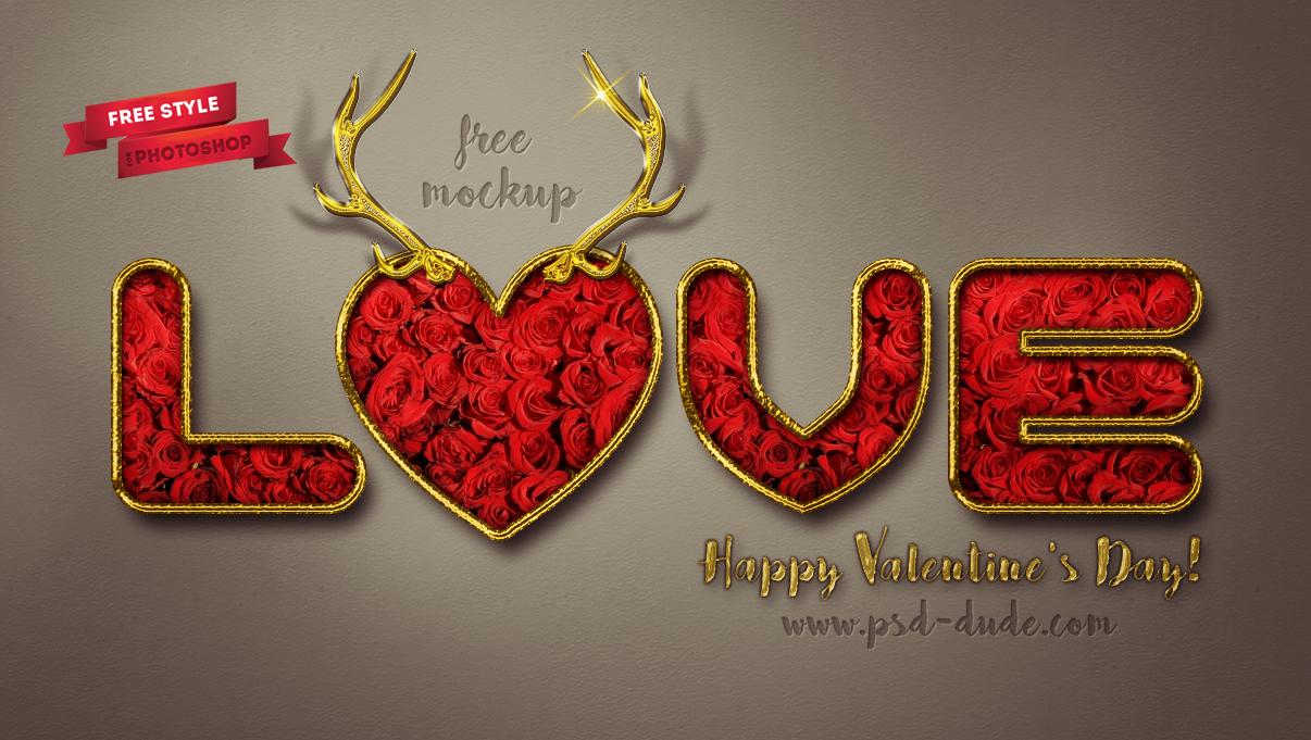 Valentine photoshop free style with rose pattern and gold border valentine photoshop text style free mockup baditri Images