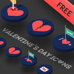 Free Love Icons with Isometric 3D Perspective psd-dude.com Resources