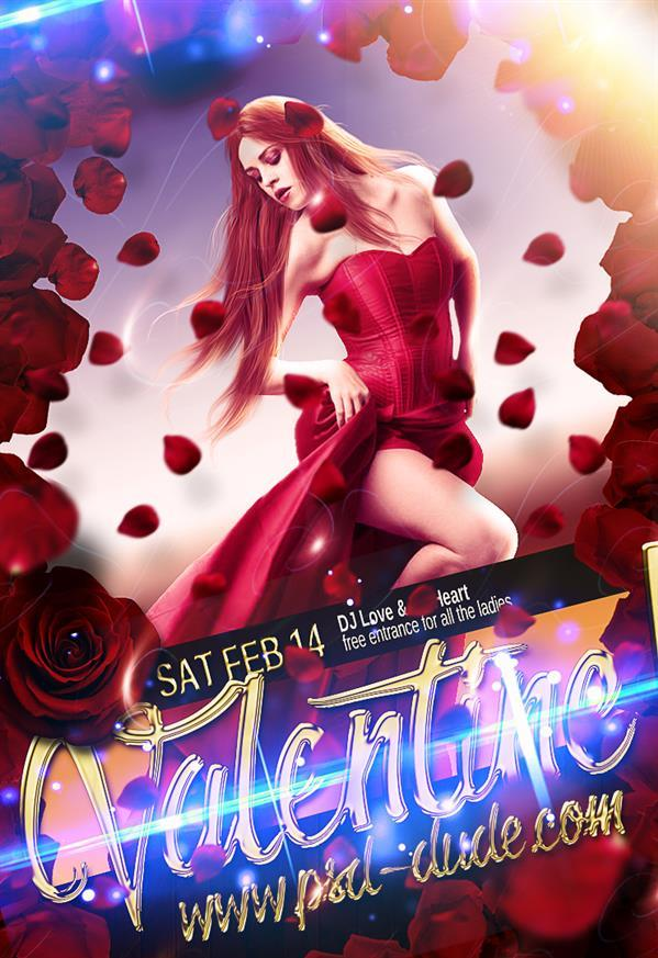 Create Valentines Day Lady in Red Flyer in photoshop