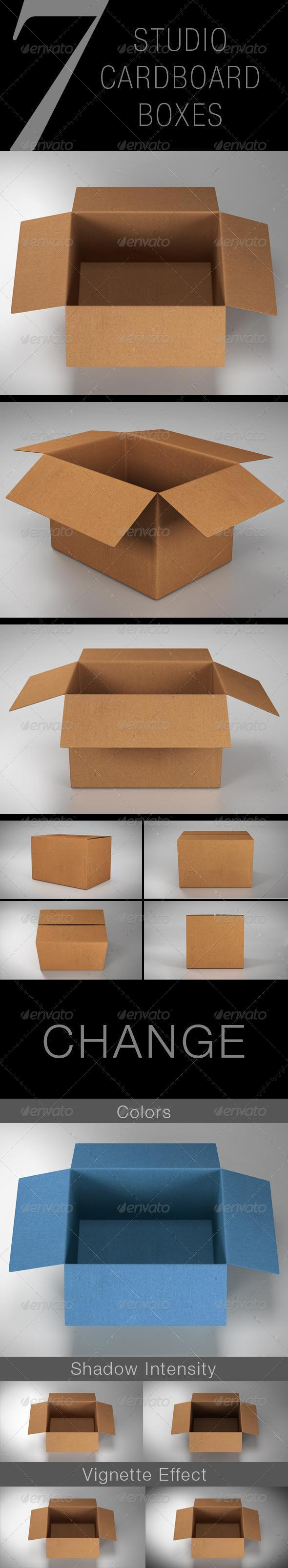 7 Realistic Cardboard Boxes with PSD Premium Files