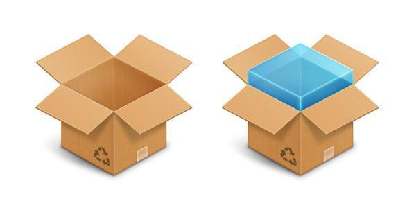 Cardboard Box Icons with Free PSD File