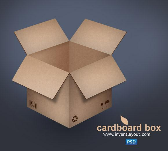 Cardboard Box PSD File