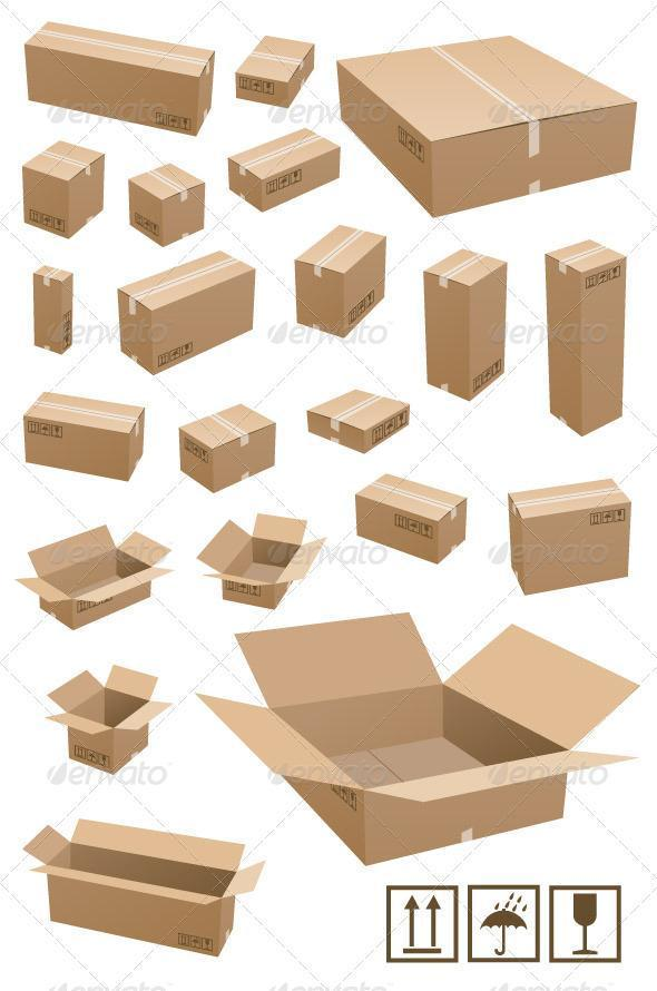 Cardboard Shipping Box PSD Layered Premium File