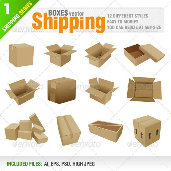 Shipping Box Vector PSD Premium File