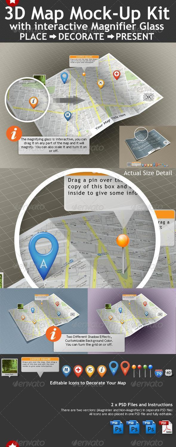 3D Map Template with PSD Layered File