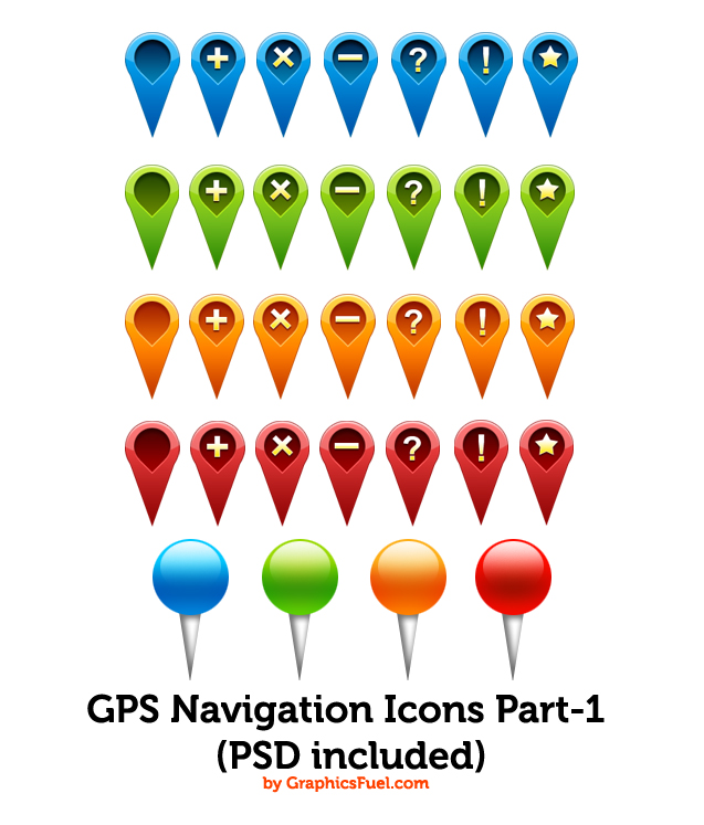 Map Pin Icons PSD