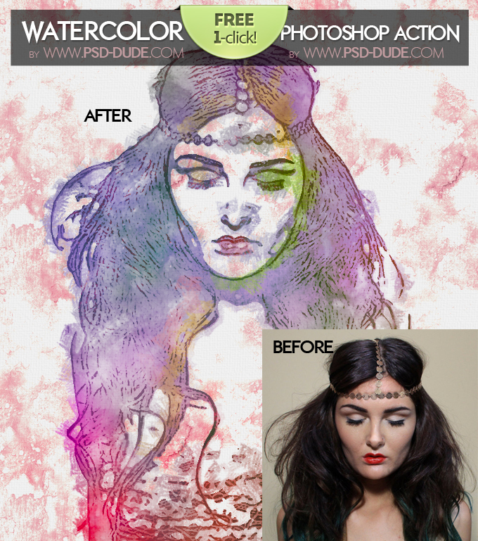 Watercolor Photoshop Free Action | PSDDude