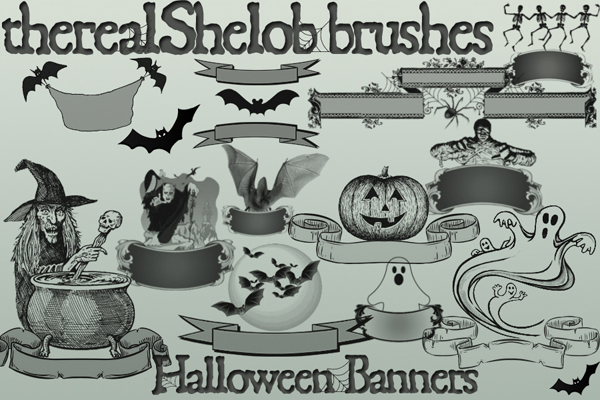 Halloween Banners Photoshop Brushes