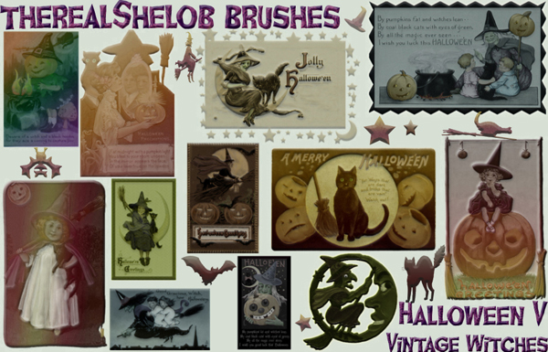Halloween Photoshop Brushes Vintage Witches