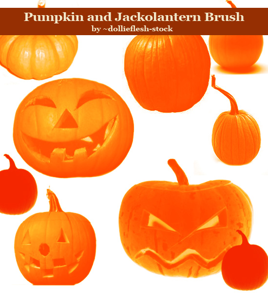 Realistic Pumpkin and Jackolantern Photoshop Brush For Halloween