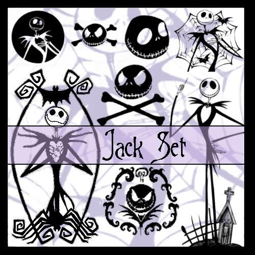 PS Brushes For Photoshop - Jack Skellington Set: Skulls, Skeletons, Graves