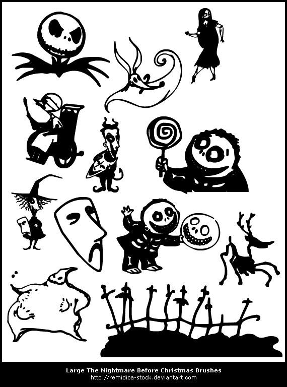 Creepy Halloween Photoshop Brushes Skellington Bats