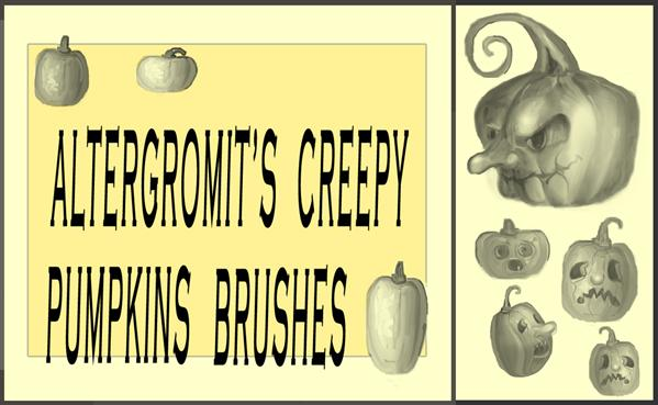 Creepy Halloween Pumpkins Brushes For Photoshop