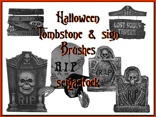 Halloween Tombstone Brushes For Photoshop