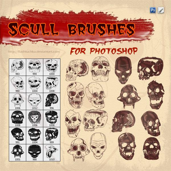 Halloweeb Vector Skulls Bruhes For Photoshop