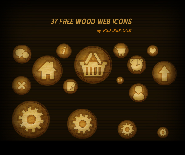 Wood Web Icon Pack by psd-dude.com