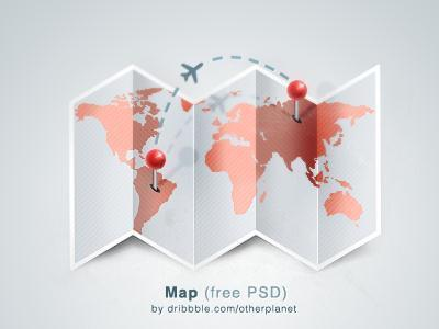 Folded Map with Map Pins Free PSD