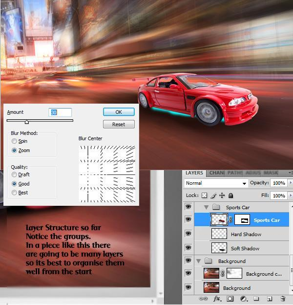 Car Action Motion Effect in Photoshop Using Zoom Blur