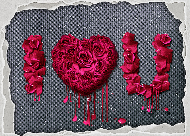 text letters made with red rose petals in photoshop