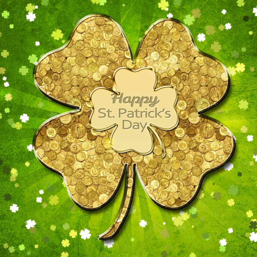 Gold Coins Lucky Clover Wallpaper For Saint Patricks Day