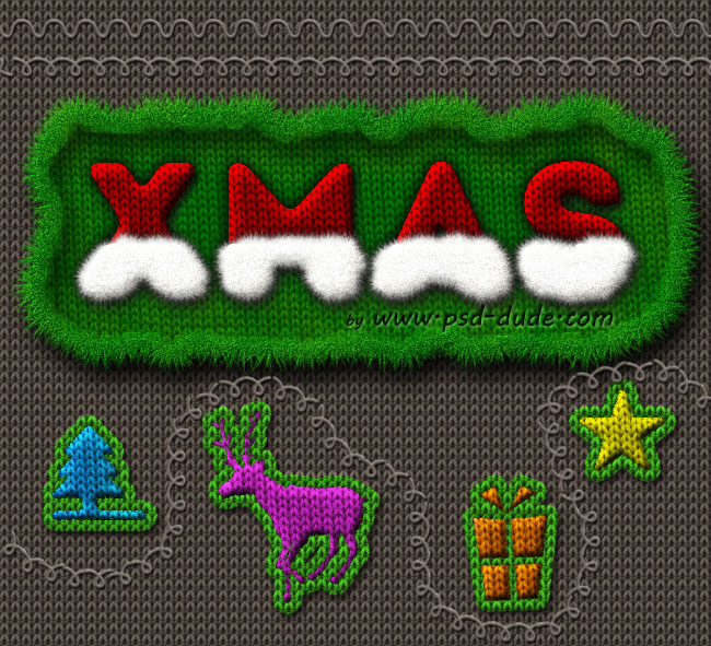 Christmas Knitted sweater Photoshop Text Effect