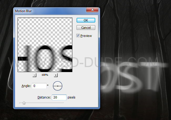 Spooky text effect with Motion Blur